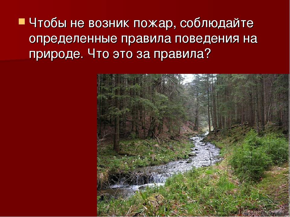Чтобы не возник пожар, соблюдайте определенные правила поведения на природе....