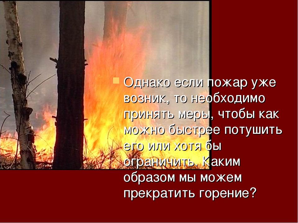 Однако если пожар уже возник, то необходимо принять меры, чтобы как можно быс...