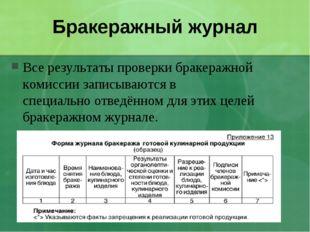 Бракеражный журнал Все результаты проверки бракеражной комиссии записываются