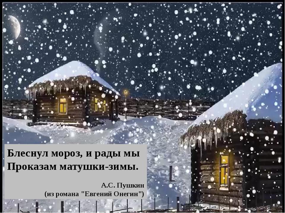 """Блеснул мороз, и рады мы Проказам матушки-зимы. А.С. Пушкин (из романа """"Евг..."""
