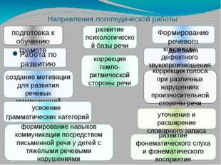 Направления логопедической работы Работа по развитию понимания речи создание