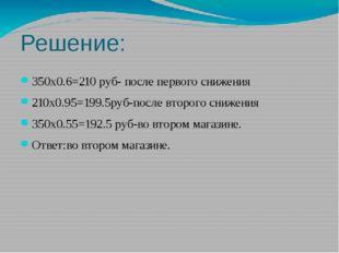 Решение: 350х0.6=210 руб- после первого снижения 210х0.95=199.5руб-после втор