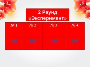 2 Раунд «Эксперимент» № 1№ 2№ 3№ 4 100100100100