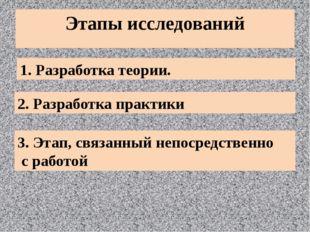 Этапы исследований 1. Разработка теории. 2. Разработка практики 3. Этап, связ