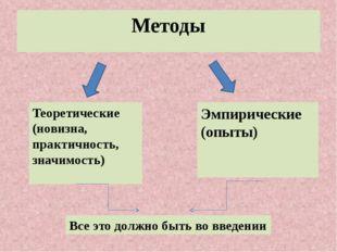Методы Теоретические (новизна, практичность, значимость) Эмпирические (опыты)