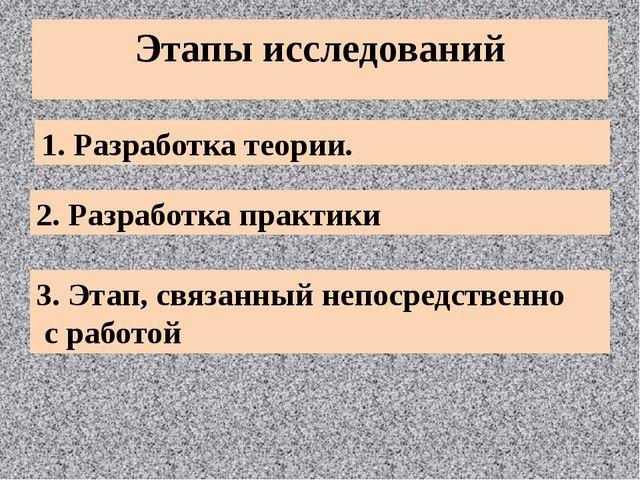 Этапы исследований 1. Разработка теории. 2. Разработка практики 3. Этап, связ...