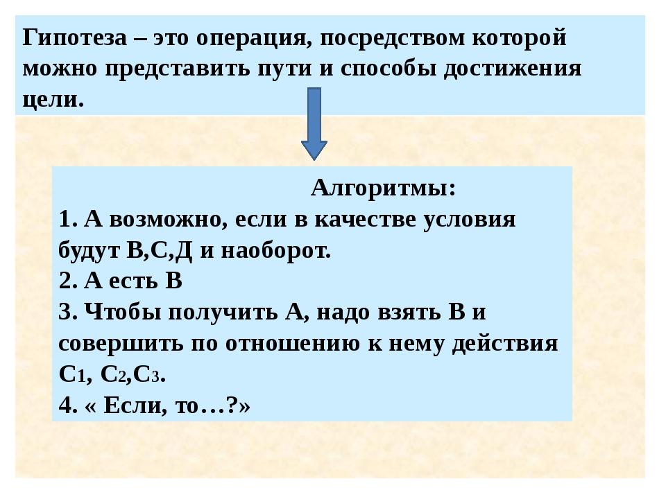 Гипотеза – это операция, посредством которой можно представить пути и способ...