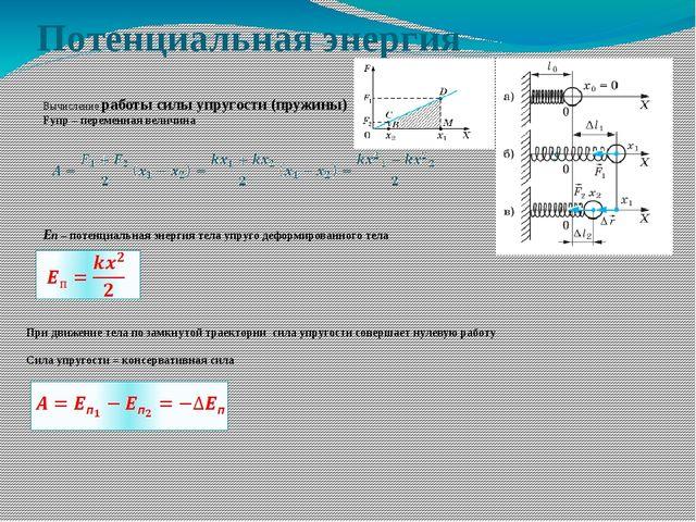 Потенциальная энергия    Вычисление работы силы упругости (пружин...
