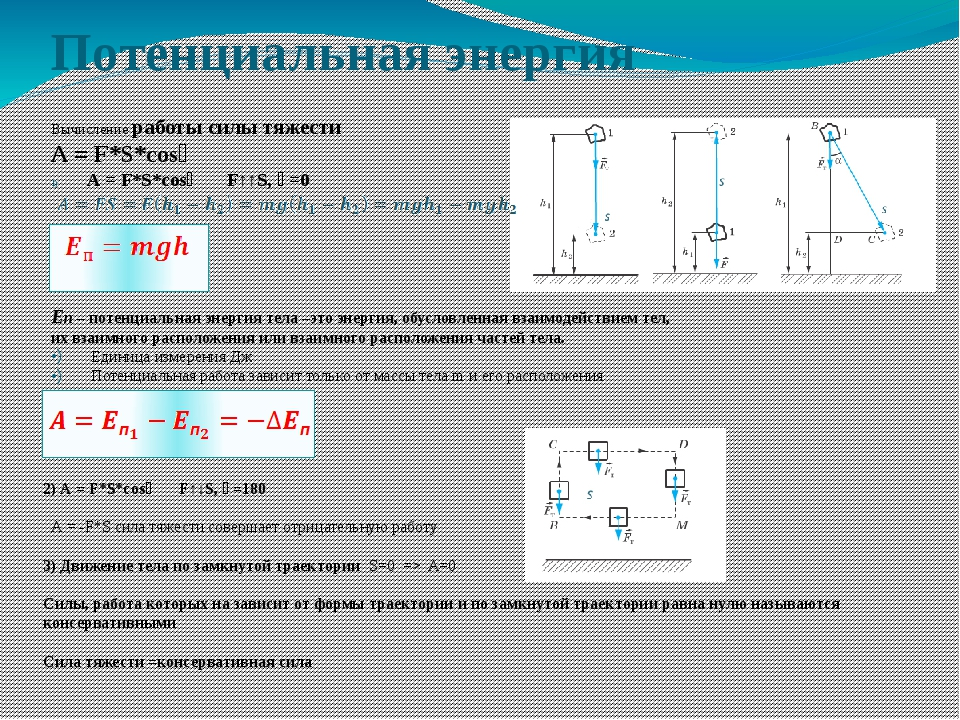 Потенциальная энергия    Вычисление работы силы тяжести А = F*S*c...