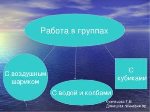 Работа в группах С воздушным шариком С водой и колбами С кубиками Кузнецова Т