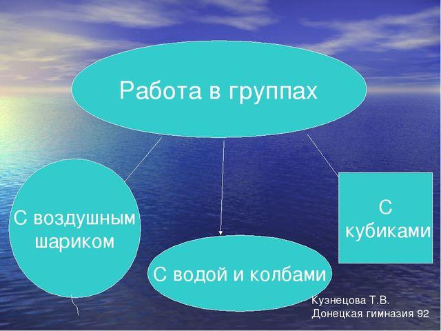 Работа в группах С воздушным шариком С водой и колбами С кубиками Кузнецова Т...