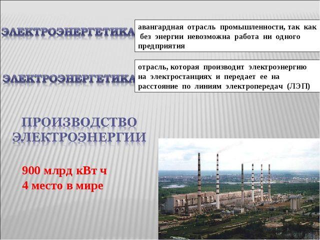 отрасль, которая производит электроэнергию на электростанциях и передает ее н...