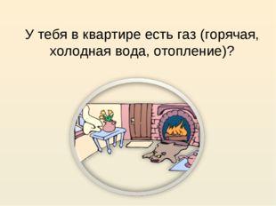 У тебя в квартире есть газ (горячая, холодная вода, отопление)?