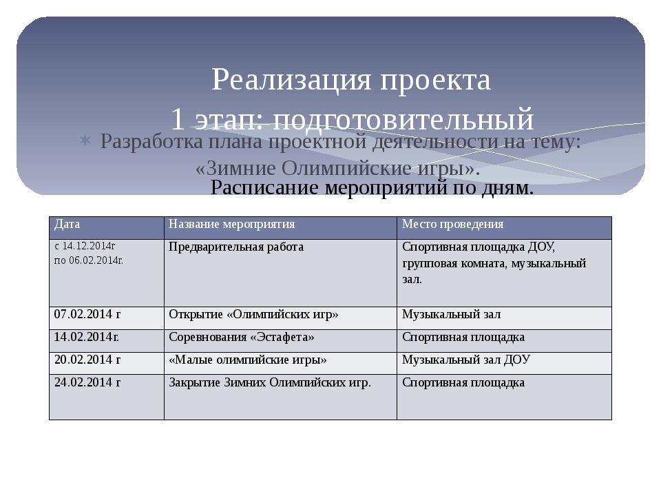 Разработка плана проектной деятельности на тему: «Зимние Олимпийские игры». Р...