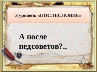 3 уровень «ПОСЛЕСЛОВИЕ» А после педсоветов?..