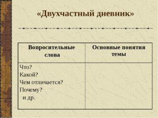 «Двухчастный дневник» Вопросительные слова Основные понятия темы Что? Какой?