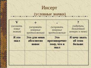 Инсерт (условные значки) V (осознать новые знания) + (исправить неверные пред