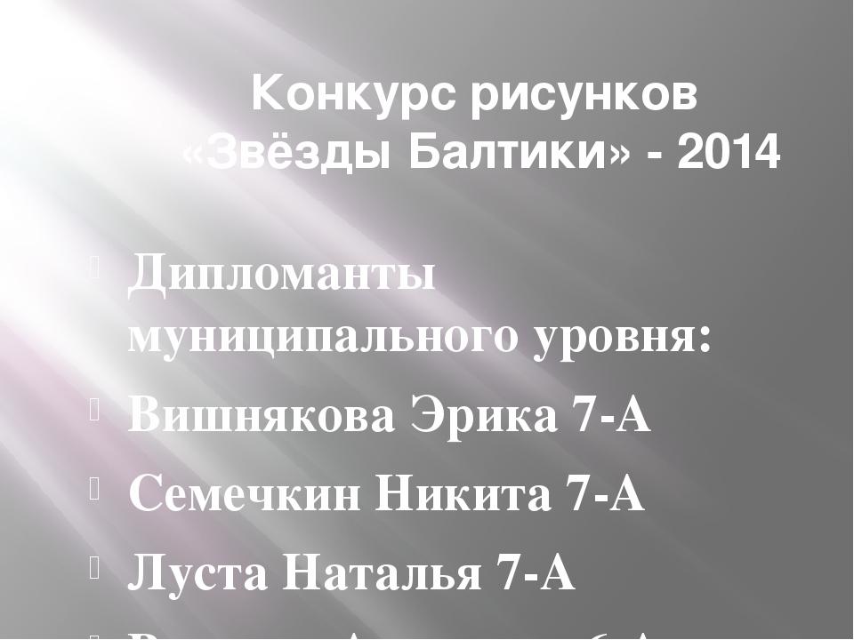 Конкурс рисунков «Звёзды Балтики» - 2014 Дипломанты муниципального уровня: Ви...