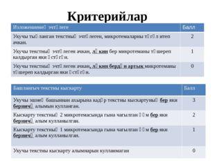 Критерийлар Изложениенең эчтәлеге Балл Укучытыңланган текстның эчтәлеген, мик