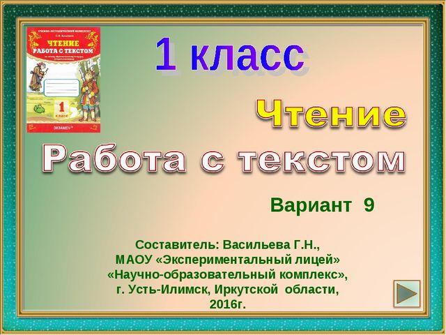 Вариант 9 Составитель: Васильева Г.Н., МАОУ «Экспериментальный лицей» «Научно...