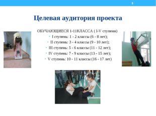Целевая аудитория проекта ОБУЧАЮЩИЕСЯ 1-11КЛАССА ( I-V ступени) I ступень: 1