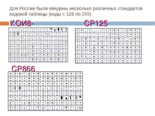 Для России были введены несколько различных стандартов кодовой таблицы (коды...