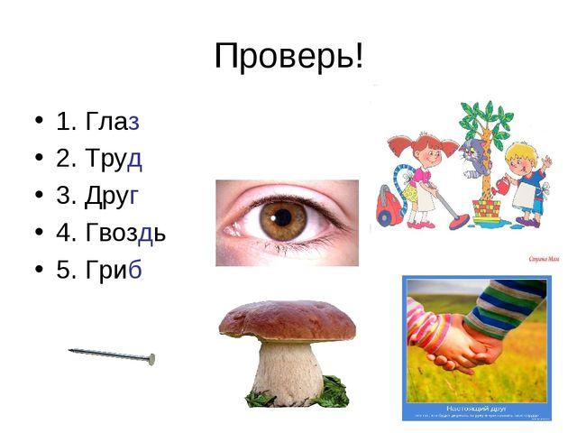 Проверь! 1. Глаз 2. Труд 3. Друг 4. Гвоздь 5. Гриб