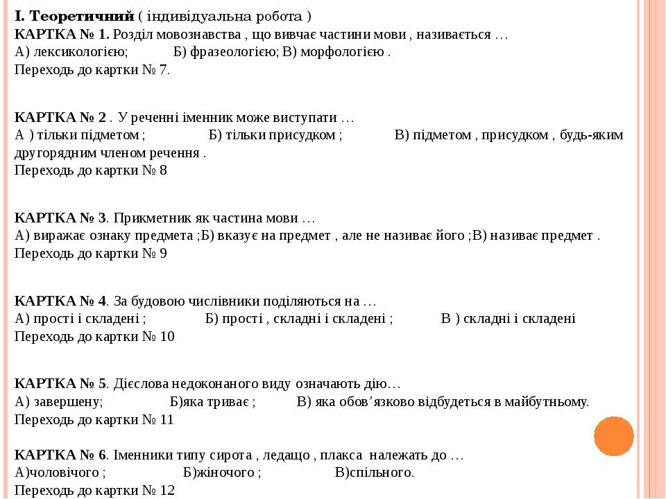 І. Теоретичний ( індивідуальна робота ) КАРТКА № 1. Розділ мовознавства , що...