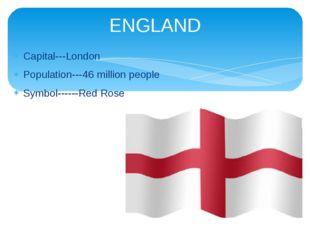 Capital---London Population---46 million people Symbol------Red Rose ENGLAND