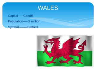 Capital-----Cardiff Population-----2 million Symbol--------Daffodil WALES