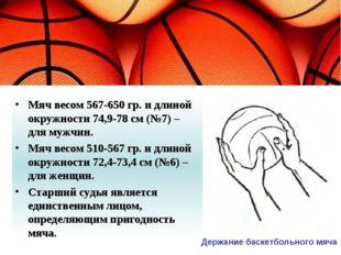 Мяч весом 567-650 гр. и длиной окружности 74,9-78 см (№7) – для мужчин. Мяч в
