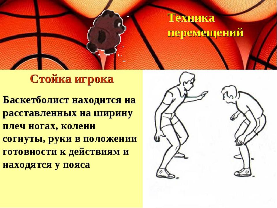 Стойка игрока Техника перемещений Баскетболист находится на расставленных на...