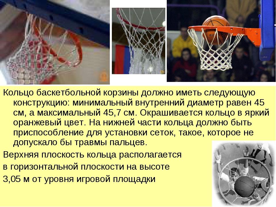Кольцо баскетбольной корзины должно иметь следующую конструкцию: минимальный...