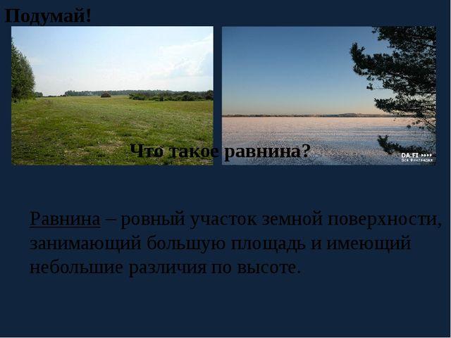Что такое равнина? Подумай! Равнина – ровный участок земной поверхности, зани...
