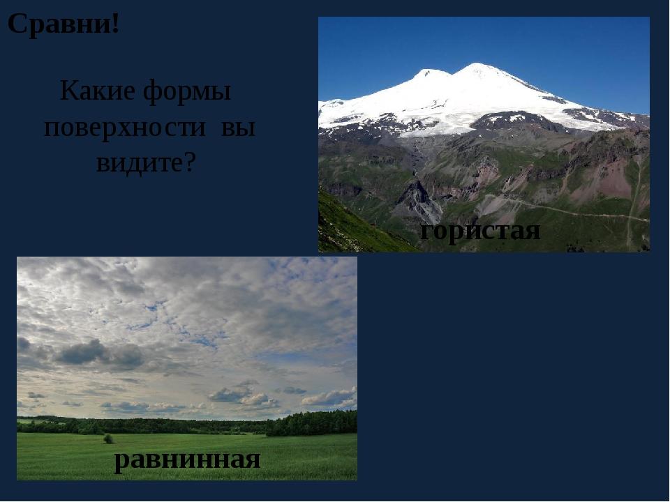 Сравни! Какие формы поверхности вы видите? равнинная гористая