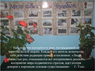 Наш поселок находится в зоне, пострадавшей от чернобыльской аварии. Каждый ег