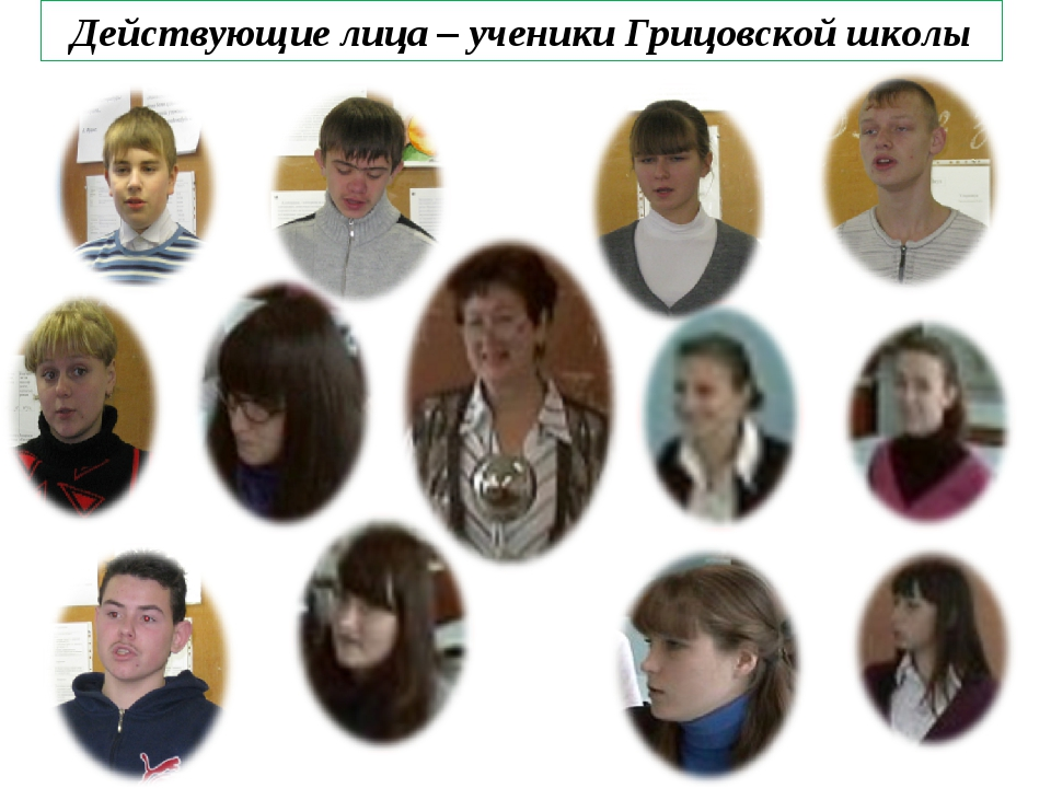 Действующие лица – ученики Грицовской школы