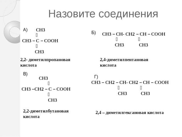 Назовите соединения  СН3 ׀ СН3 – С – СООН ׀ СН3 СН3 – СН- СН2 – СН – СООН ׀...