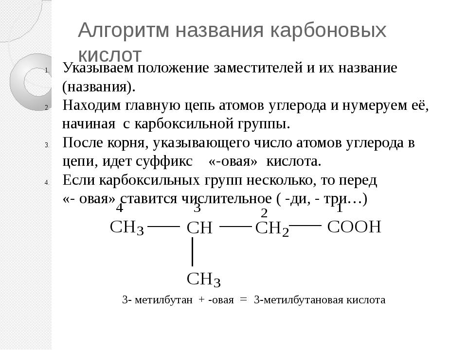 Алгоритм названия карбоновых кислот Указываем положение заместителей и их наз...