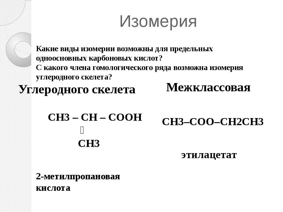Изомерия Углеродного скелета Межклассовая CH3–COO–CH2CH3 2-метилпропановая ки...