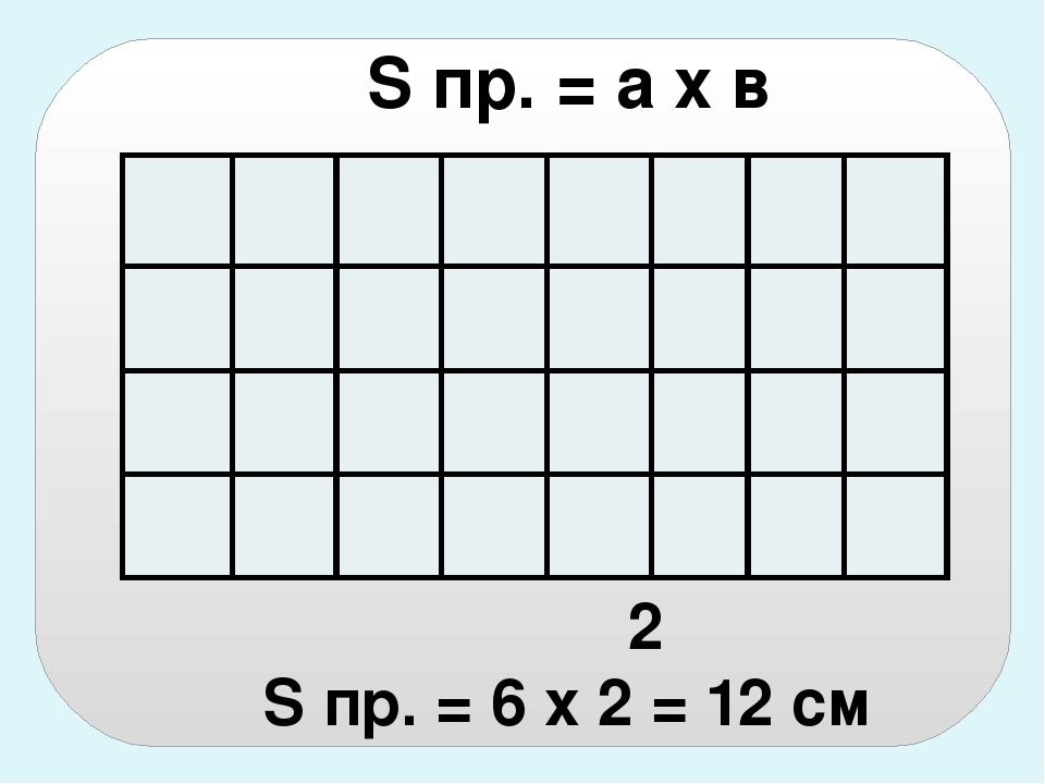 S пр. = а х в 2 S пр. = 6 х 2 = 12 см