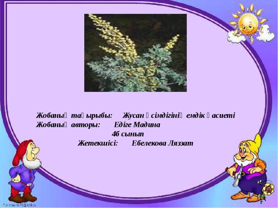 Жобаның тақырыбы: Жусан өсімдігінің емдік қасиеті Жобаның авторы: Едіге Мадин...