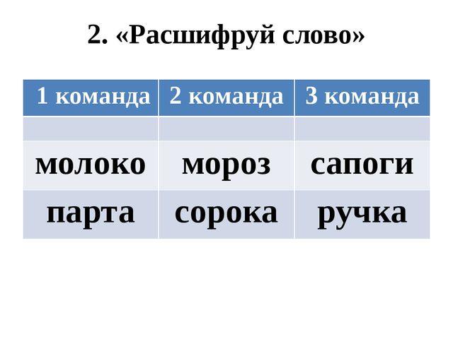 2. «Расшифруй слово» 1 команда 2 команда 3 команда молоко мороз сапоги парта...