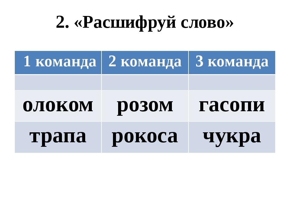 2. «Расшифруй слово» 1 команда 2 команда 3 команда олоком розом гасопи трапа...