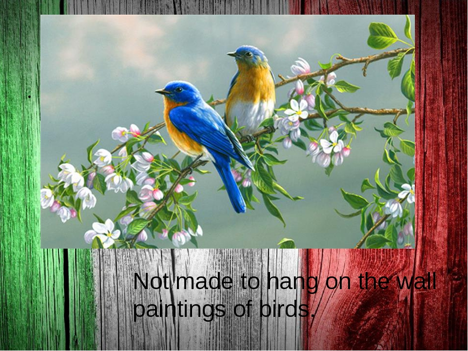 . Not made to hang on the wall paintings of birds.