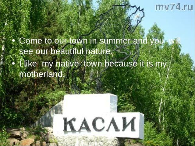 Come to our town in summer and you will see our beautiful nature. I like my n...
