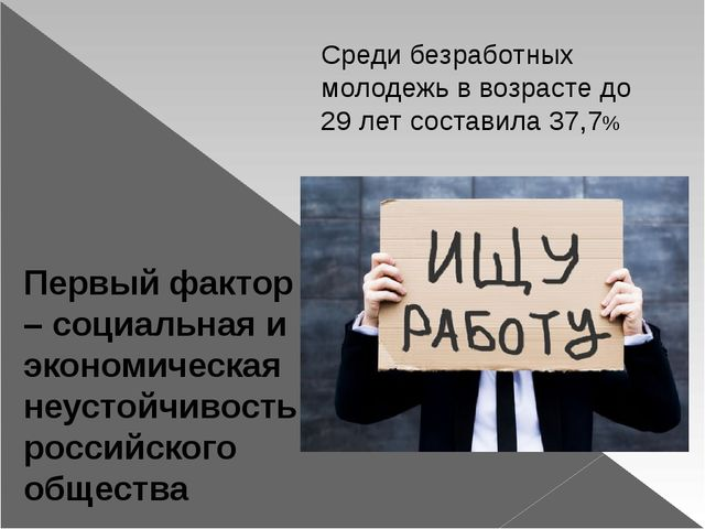 Первый фактор – социальная и экономическая неустойчивость российского общест...
