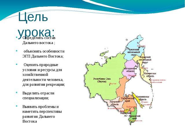 Цель урока: Определить состав Дальнего востока ; объяснить особенности ЭГП Да...