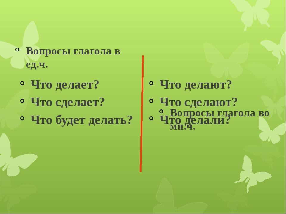 Вопросы глагола в ед.ч. Что делает? Что сделает? Что будет делать? Вопросы г...
