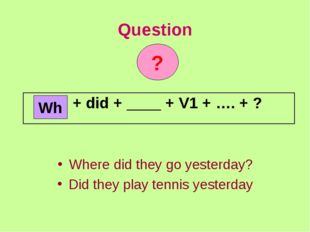 Question Where did they go yesterday? Did they play tennis yesterday Wh ? + d